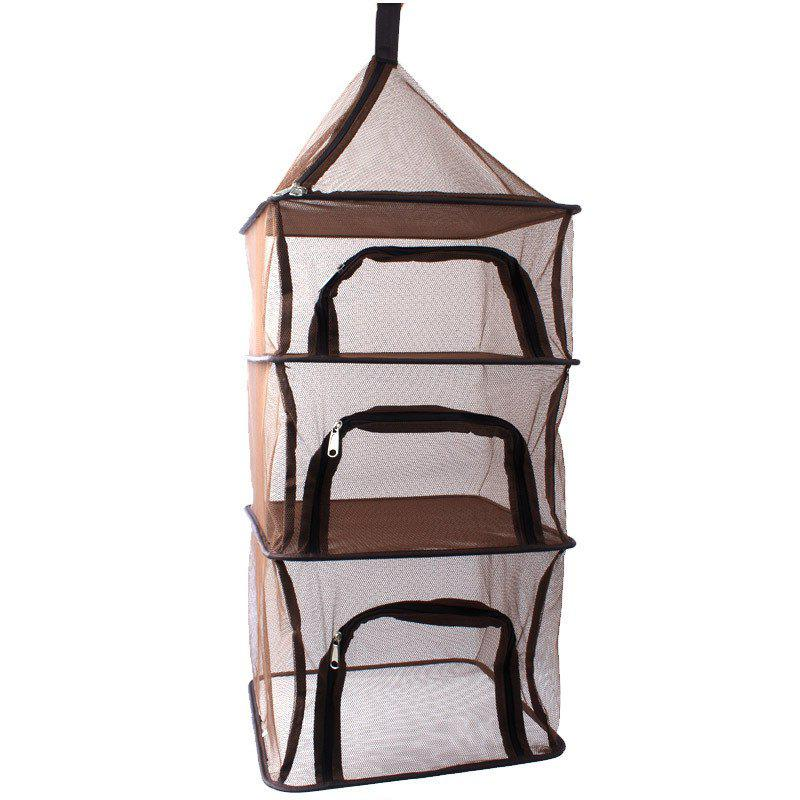 Camping Portable Folding 4 Layer Hanging Food Outdoor BBQ Rack Shelf Storage - LIGHT BROWN