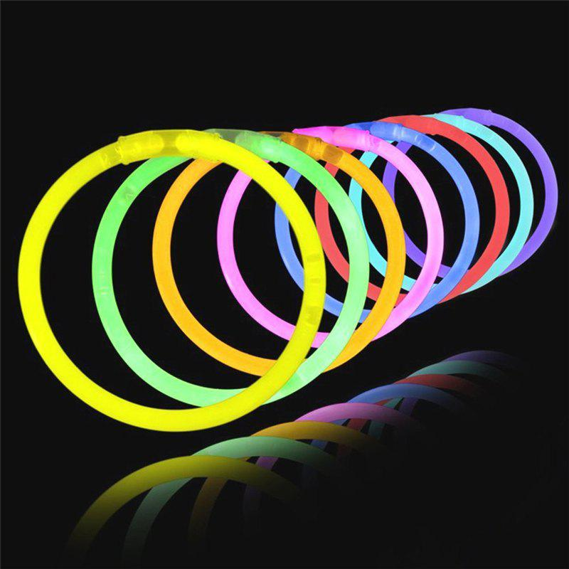 8 Color Light in Night Glow Sticks Kids Birthday Bracelets Party Concert 100PCS - multicolor A