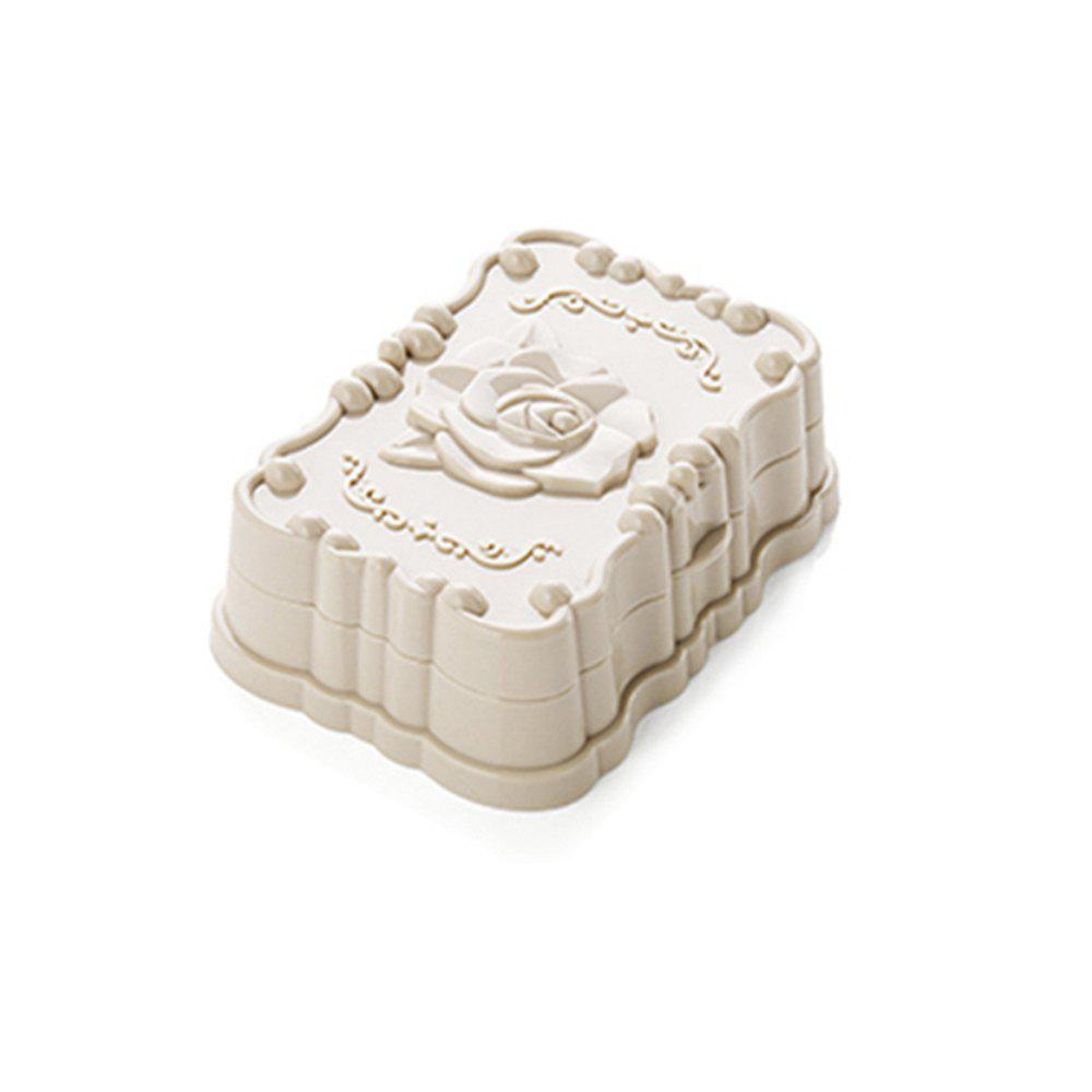 Bathroom Rose Carved Soap Box - WARM WHITE