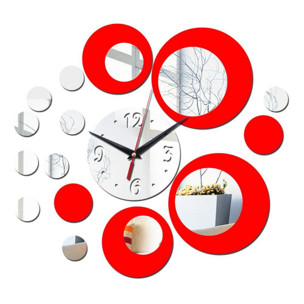 DIY Living Room Acrylic Color Mirror Wall Stickers Red Silver Clock squares luxury wall art diy clock mirror stickers for home decoration silver