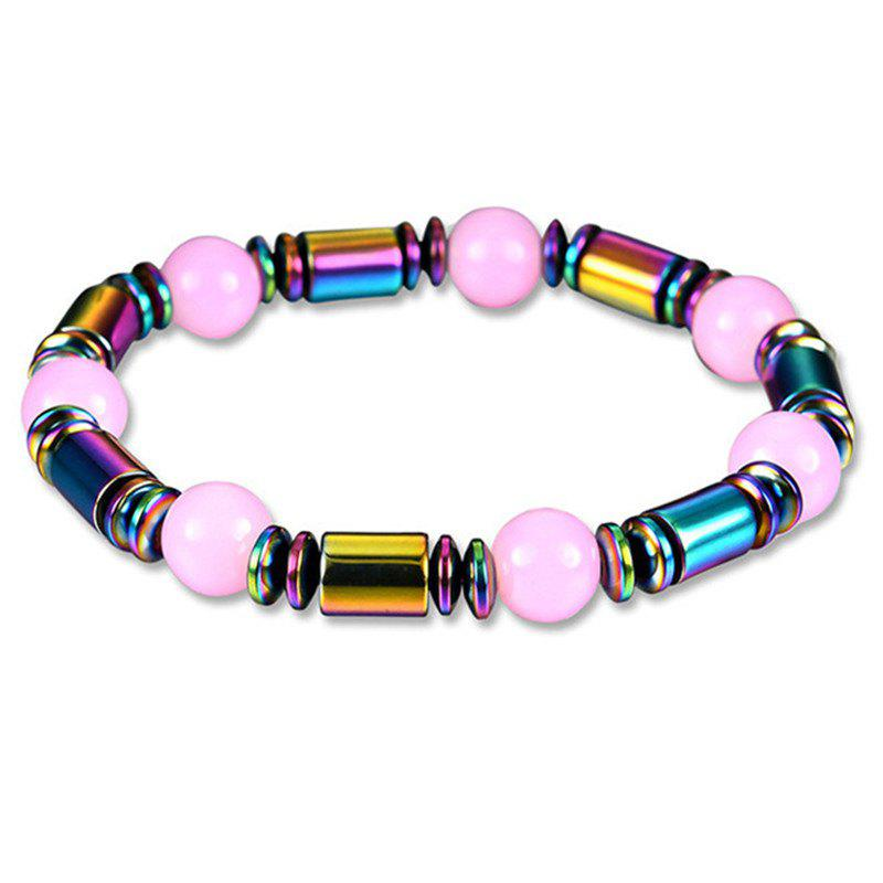 Fashion Personality Unique Colorful Pink Magnet Stone Bracelet Woman - multicolor A