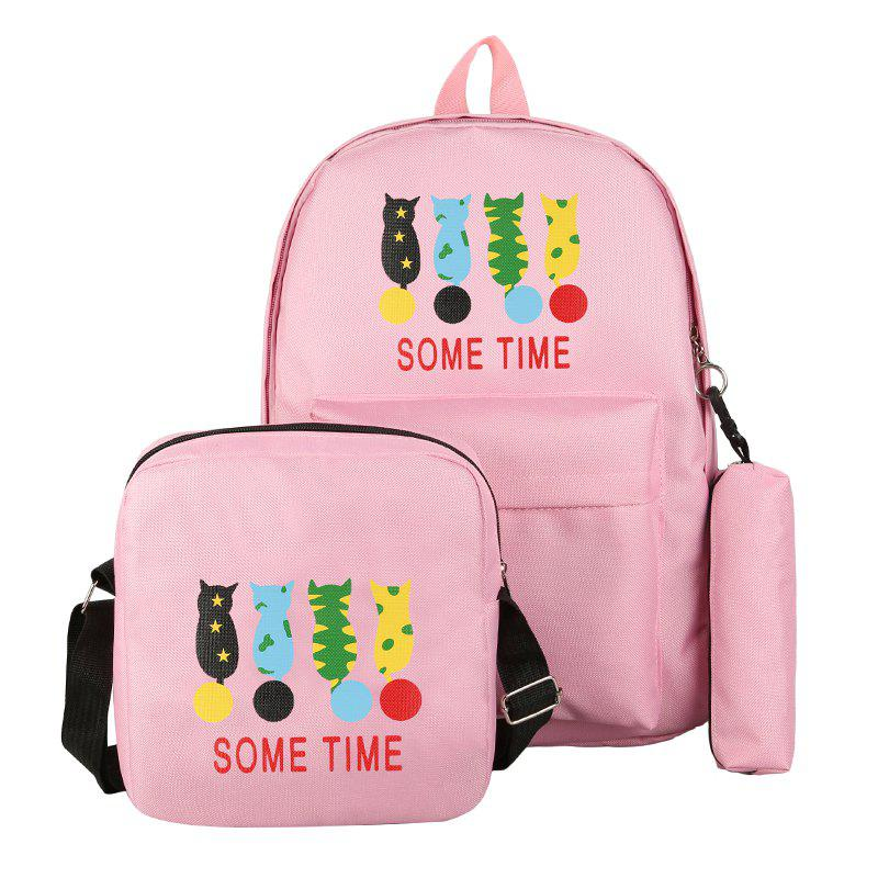 Cartoon Pattern Double Shoulder Bag Middle School Schoolbag - PINK VERTICAL