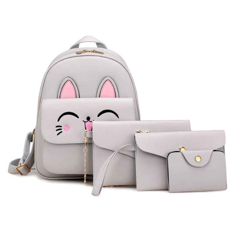 Cute Rabbit Pattern PU Backpack Bag Suit - GRAY VERTICAL