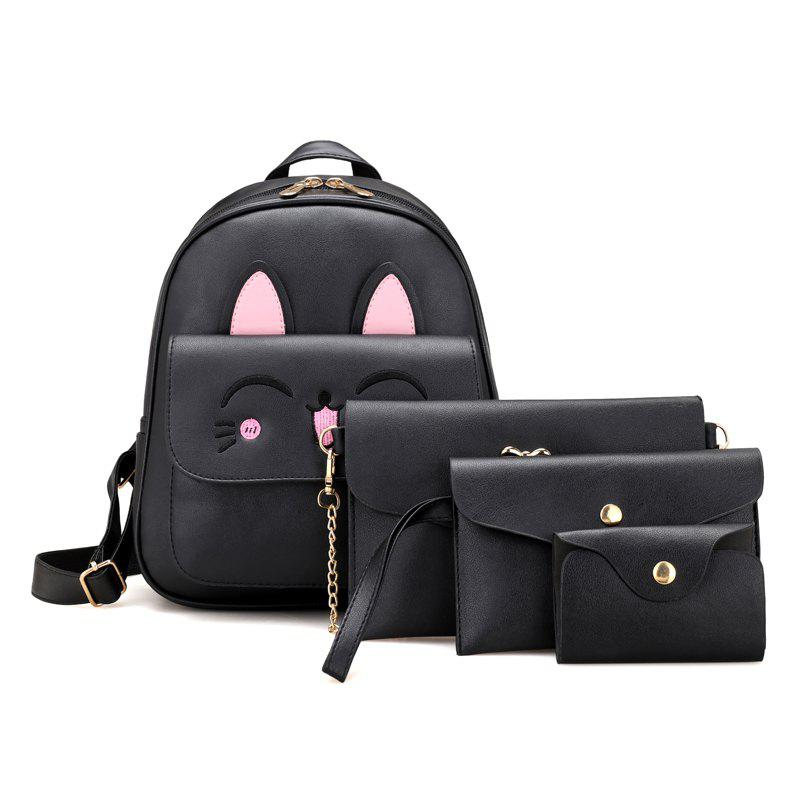Cute Rabbit Pattern PU Backpack Bag Suit - BLACK VERTICAL