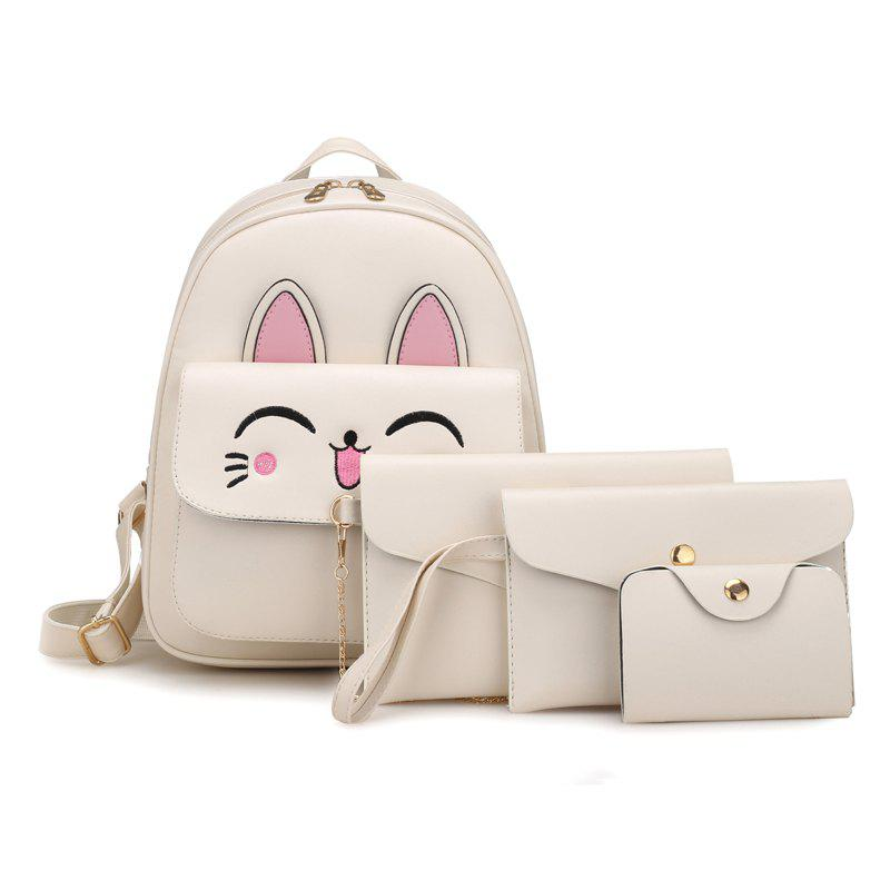 Cute Rabbit Pattern PU Backpack Bag Suit - WHITE VERTICAL