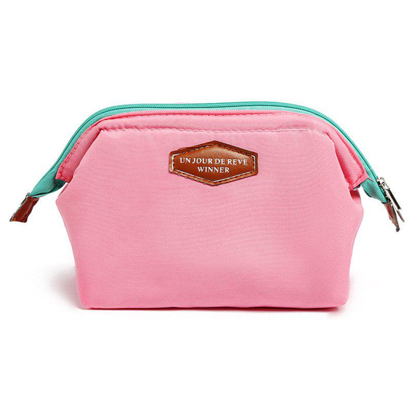 Multifunctional Fashion Frog Mouth Steel Cotton Cloth Cosmetic Bag - PINK