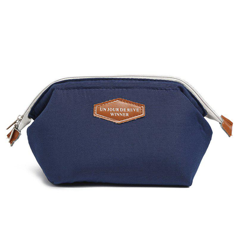 Multifunctional Fashion Frog Mouth Steel Cotton Cloth Cosmetic Bag - MIDNIGHT BLUE