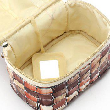 Large Capacity Lattice Cosmetic Bag - COFFEE
