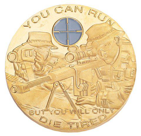 Golden Soldier Sniper Aiming At Embossed Commemorative Coins - GOLD