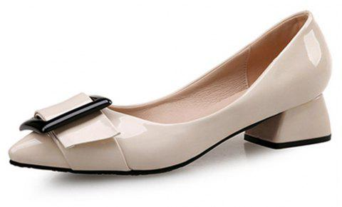 VICONE Women Summer Pointed Elegant Chunky Heel Buckle Office Heels Shoes - BLANCHED ALMOND 34