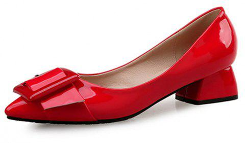VICONE Women Summer Pointed Elegant Chunky Heel Buckle Office Heels Shoes - RED 36