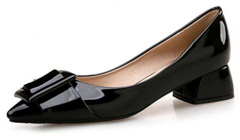 VICONE Women Summer Pointed Elegant Chunky Heel Buckle Office Heels Shoes - BLACK 34