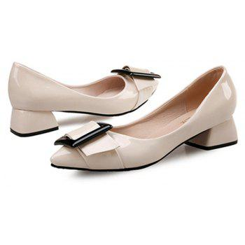VICONE Women Summer Pointed Elegant Chunky Heel Buckle Office Heels Shoes - BLANCHED ALMOND 40