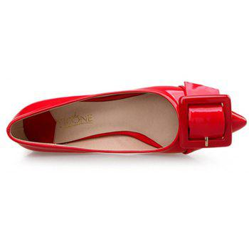 VICONE Women Summer Pointed Elegant Chunky Heel Buckle Office Heels Shoes - RED 37