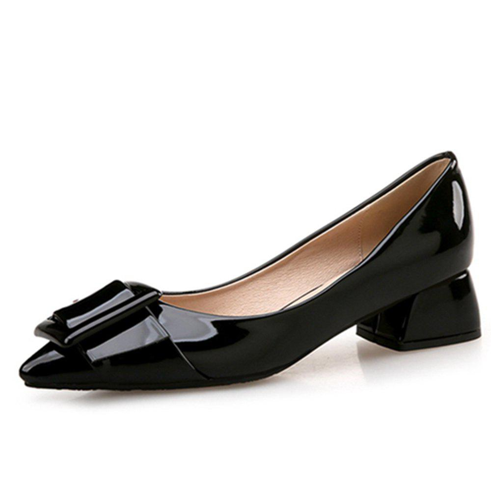 VICONE Women Summer Pointed Elegant Chunky Heel Buckle Office Heels Shoes - BLACK 36