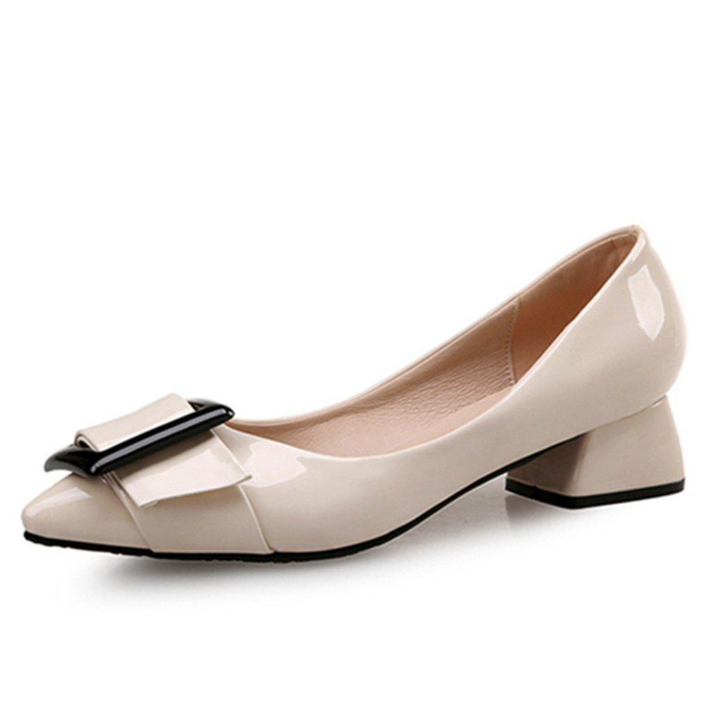 VICONE Women Summer Pointed Elegant Chunky Heel Buckle Office Heels Shoes - BLANCHED ALMOND 41