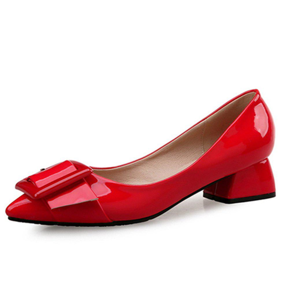 VICONE Women Summer Pointed Elegant Chunky Heel Buckle Office Heels Shoes - RED 34