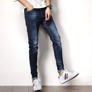Men's Fashion Solid Color Slim Jeans - MIDNIGHT BLUE 34