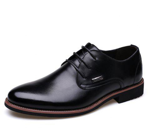 Men New Trend for Fashion Outdoor Walking Lace Up Leather Business Shoes - BLACK 43