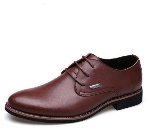 Men New Trend for Fashion Outdoor Walking Lace Up Leather Business Shoes - BROWN 41