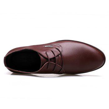 Men New Trend for Fashion Outdoor Walking Lace Up Leather Business Shoes - BROWN 38