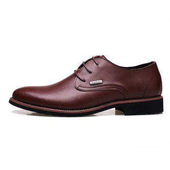 Men New Trend for Fashion Outdoor Walking Lace Up Leather Business Shoes - BROWN 39