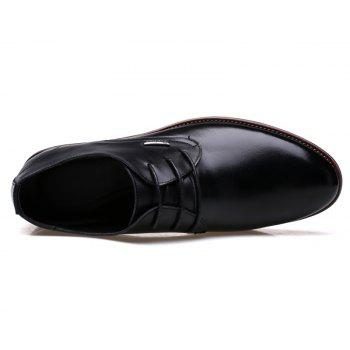 Men New Trend for Fashion Outdoor Walking Lace Up Leather Business Shoes - BLACK 40