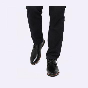 Men New Trend for Fashion Outdoor Walking Lace Up Leather Business Shoes - BLACK 38
