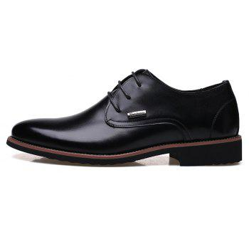 Men New Trend for Fashion Outdoor Walking Lace Up Leather Business Shoes - BLACK 39