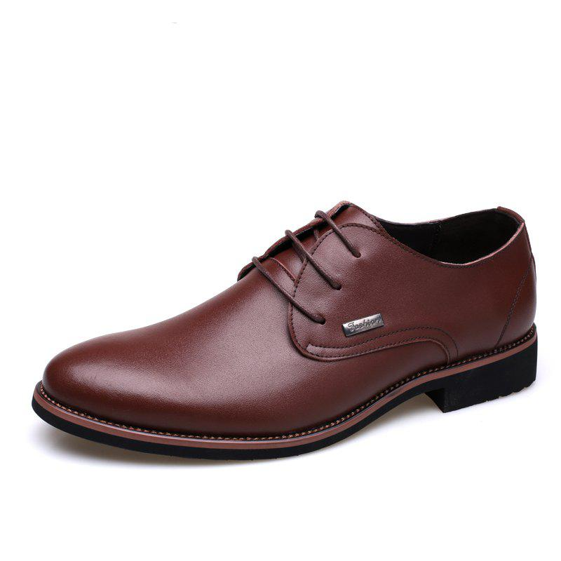 Men New Trend for Fashion Outdoor Walking Lace Up Leather Business Shoes - BROWN 44