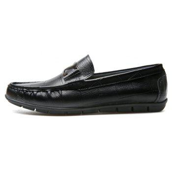 Male Outdoor Soft Driving Flat Loafers Leather Men Casual Shoes - BLACK 42