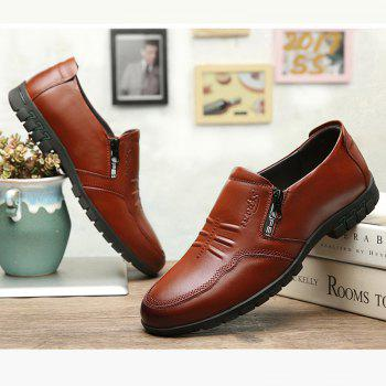 Male Comfort Flat Loafers Soft Driving Cowhide Men's Causal Shoes - BROWN 42