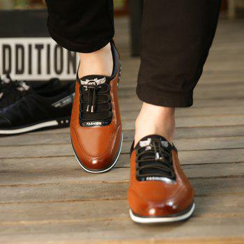 Male Fashion Young Breathable Soft Sport Flat Lace-Up Solid Leather Causal Shoes - BROWN 42
