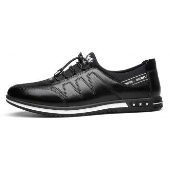 Male Fashion Young Breathable Soft Sport Flat Lace-Up Solid Leather Causal Shoes - BLACK 42
