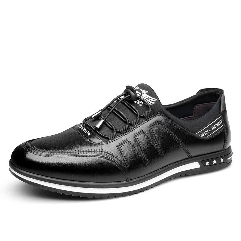 Male Fashion Young Breathable Soft Sport Flat Lace-Up Solid Leather Causal Shoes - BLACK 43