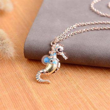 Europe and The United States Drops Oil Hippocampus Alloy Pendant Necklace - DEEP SKY BLUE