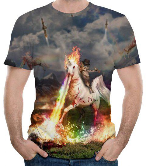 2018 New 3D Print Unicorn Men's Short Sleeve T-shirt - multicolor R XL