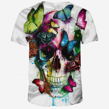 Summer New Style 3D Print Butterfly Pattern Men's Short Sleeve T-shirt - WHITE S
