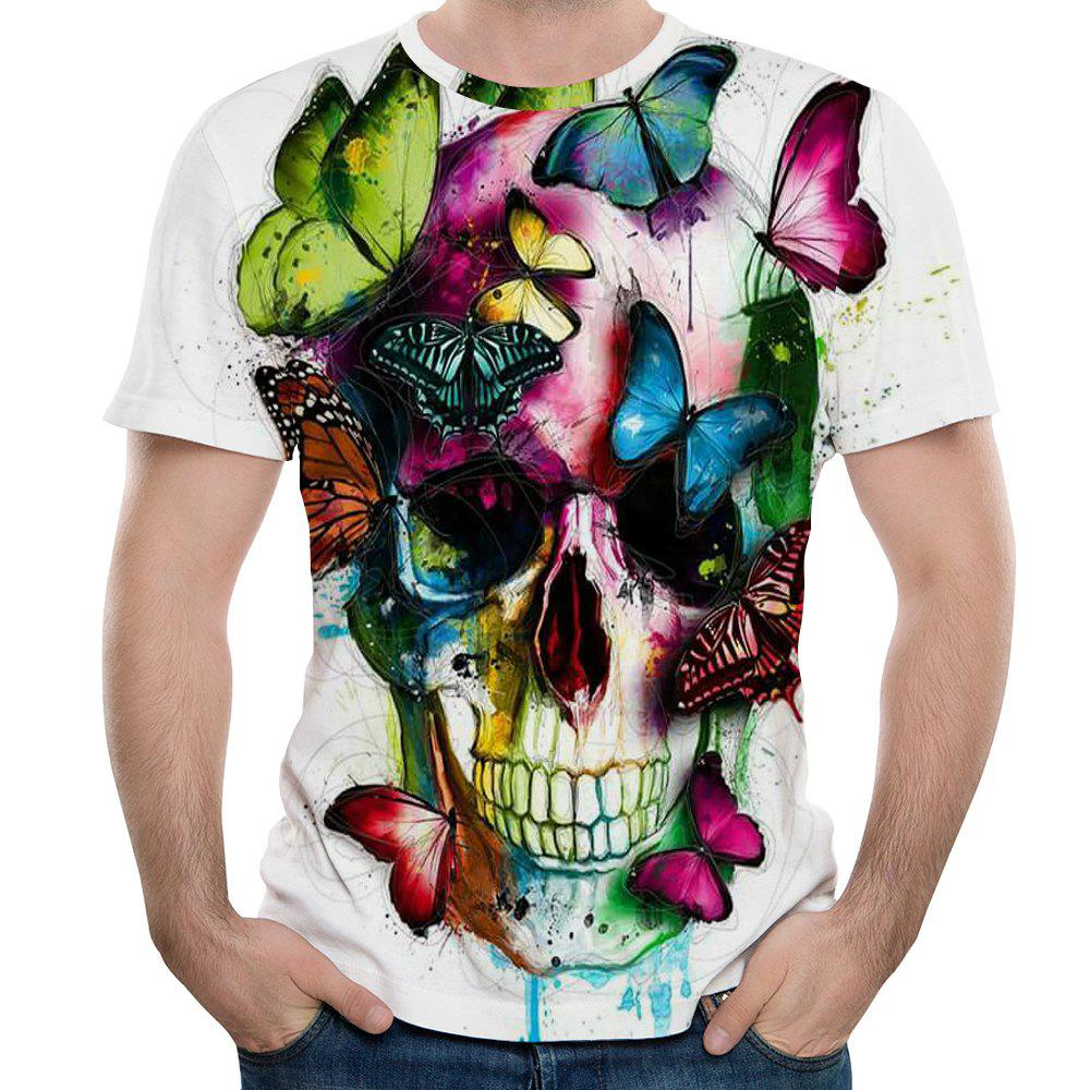 Summer New Style 3D Print Butterfly Pattern Men's Short Sleeve T-shirt - WHITE L