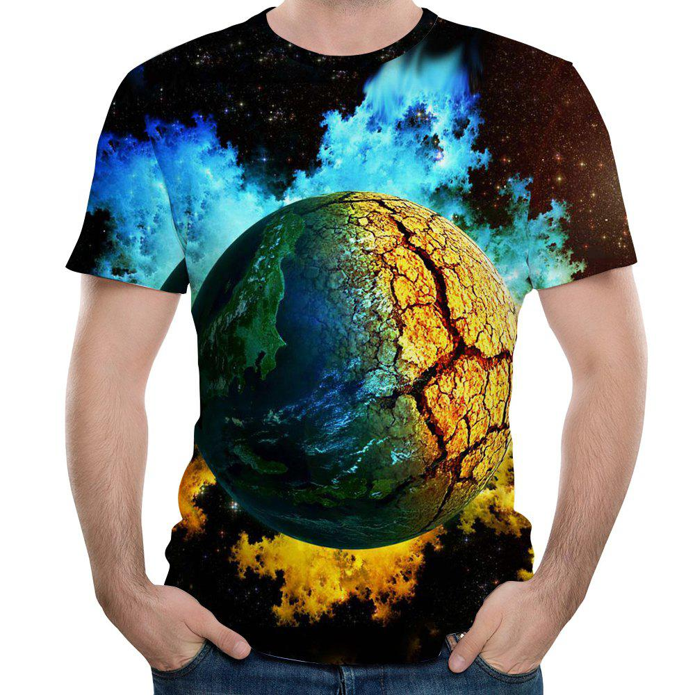 New Summer Men's 3D Printed Ball Pattern Short-Sleeve T-shirt - NATURAL BLACK L