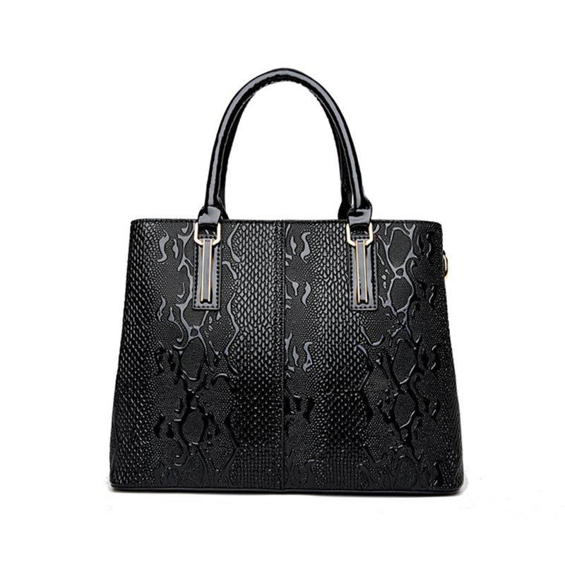 Shoulder Bag Embossed Ladies - BLACK