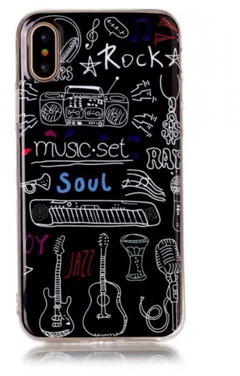 Perfect Fitted Beautiful Music Instrucments Cartoon Soft TPU Case for iphone X - BLACK