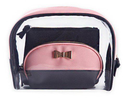 Nm-09 Half Moon Transparent Cosmetic Case - PINK LARGE