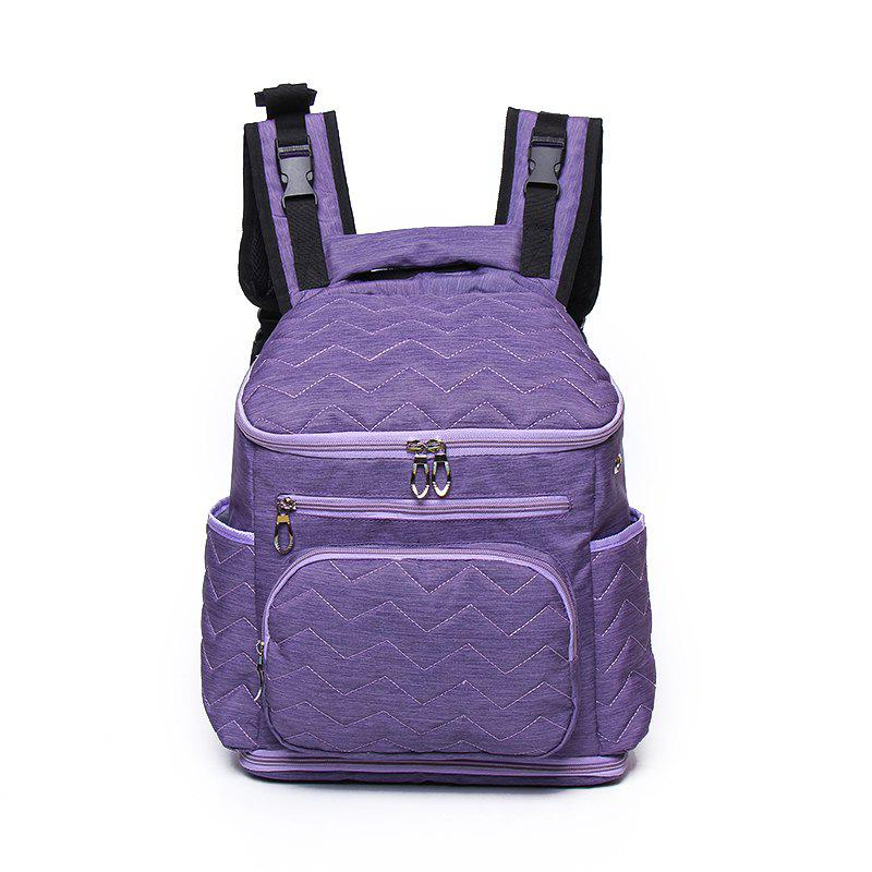 Large Capacity and Durable Washed Cotton Multi Pocket Earphone Jacket Mummy Bag - VIOLET
