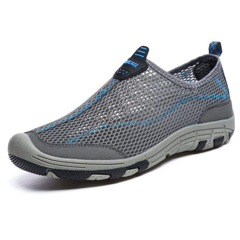 ZEACAVA Men Honeycomb Mesh Quick Drying Upstream Shoes Casual Beach Shoes - DARK GRAY 43