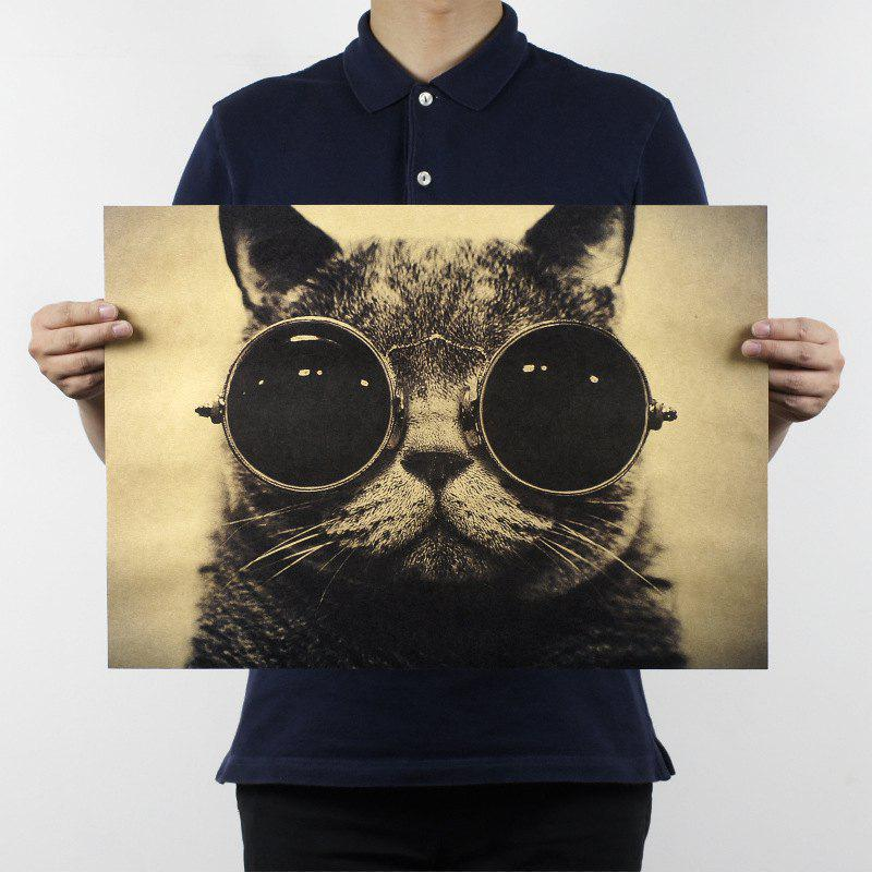 Retro Poster Handsome Cool Cat Wall Sticker couple cat wall sticker
