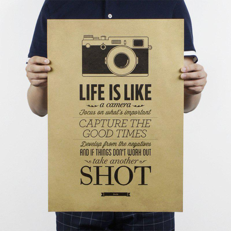 Retro Poster Life Is Like A Camera Wall Sticker retro poster guitar brief history wall sticker