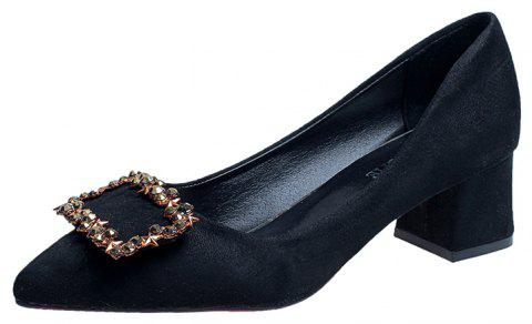 Working Women's  With Thick Black Heels Shoes - BLACK 36