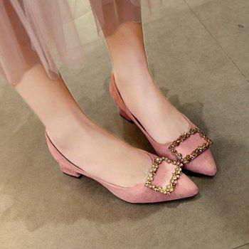 Working Women's  With Thick Black Heels Shoes - LIGHT PINK 40