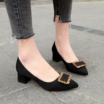 Working Women's  With Thick Black Heels Shoes - BLACK 40